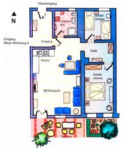 Grundriss Wohnung Blau 1